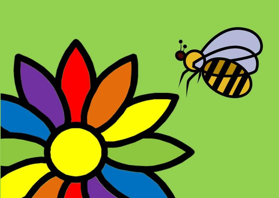 Biene auf bunter Blume